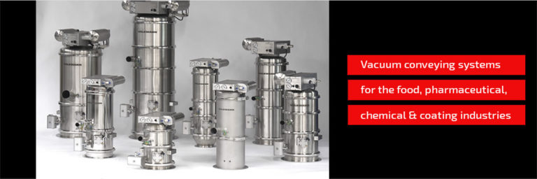 Vacuum conveying systems for the food, pharmaceutical, chemical and coating industries.